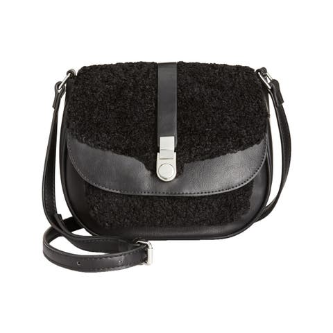 Danielle Nicole Womens Minx Saddle Handbag Faux Leather Flap