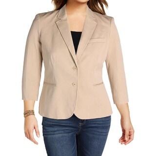 Lauren Ralph Lauren Womens Two-Button Blazer Twill Notched Collar