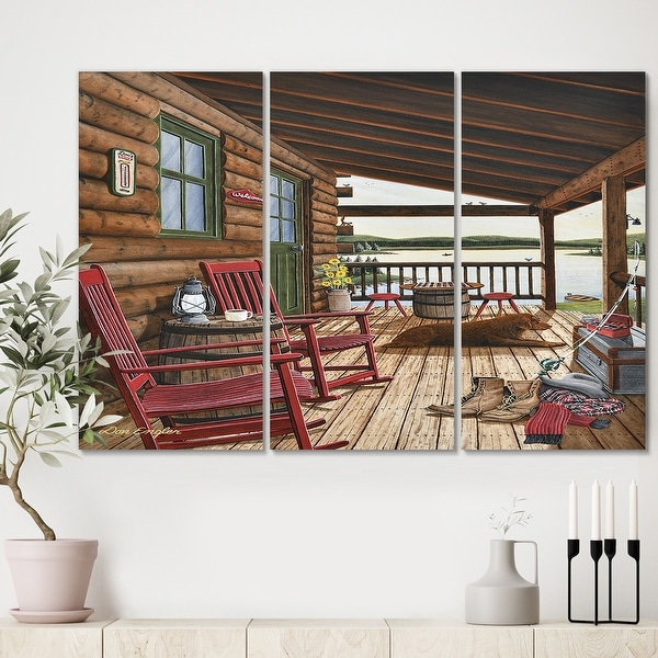 Designart 'Sleeping Dog At The Lake House' Lake House Canvas Art Print - 36x28 - 3 Panels. Opens flyout.