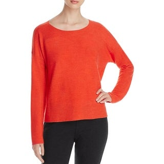 Eileen Fisher Womens Pullover Top Ribbed Trim Long Sleeves