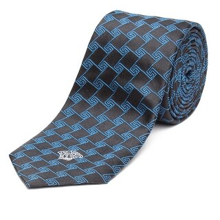Versace Men's Slim Silk Medusa Tie Geometric Pattern Black Teal - no size