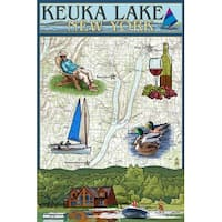 Keuka Lake, NY - Nautical Chart - LP Artwork (Cotton/Polyester Chef's Apron)