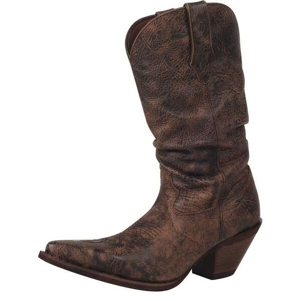 "Durango Western Boots Womens 11"" Crush Slouch Heel Bourbon"