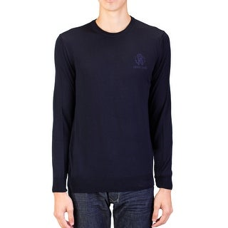Roberto Cavalli Men's Crew Neck Wool Sweater Dark Navy