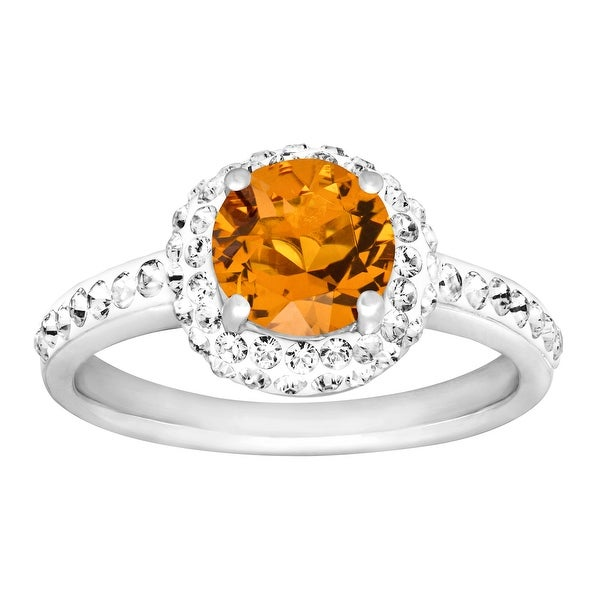 Crystaluxe November Ring with Yellow Swarovski Elements Crystals in Sterling Silver