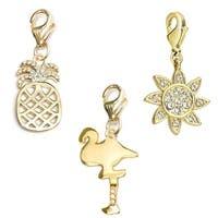 Julieta Jewelry Flamingo, Pineapple, Sun 14k Gold Over Sterling Silver Clip-On Charm Set