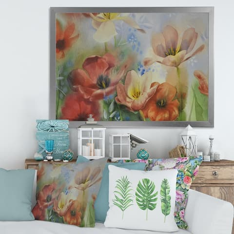 Designart 'Vintage Flowers In Dark Pastel Colours' Traditional Framed Art Print
