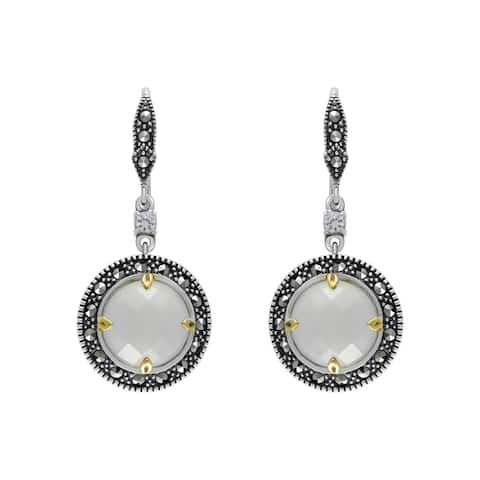 MARC Sterling Silver White Chalcedony with White CZ atop & Marcasite accent Earrings