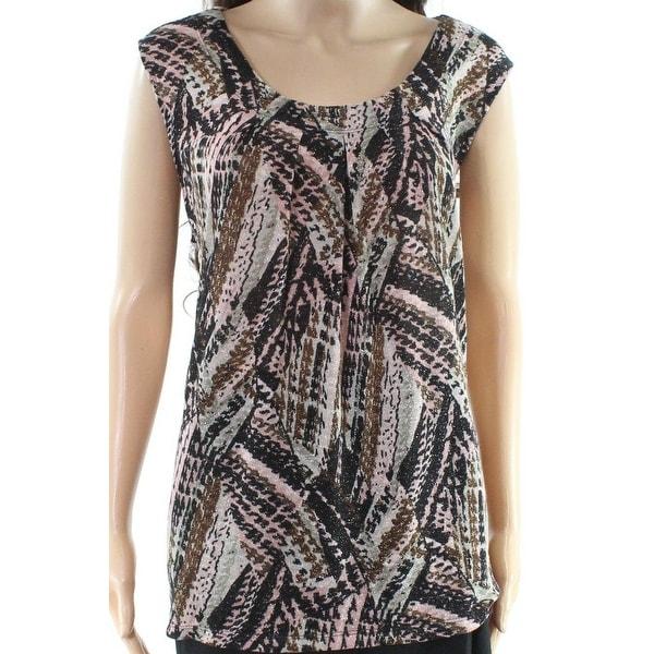 Kasper Black Women's Size 2X Plus Shimmer Scoop Neck Knit Top