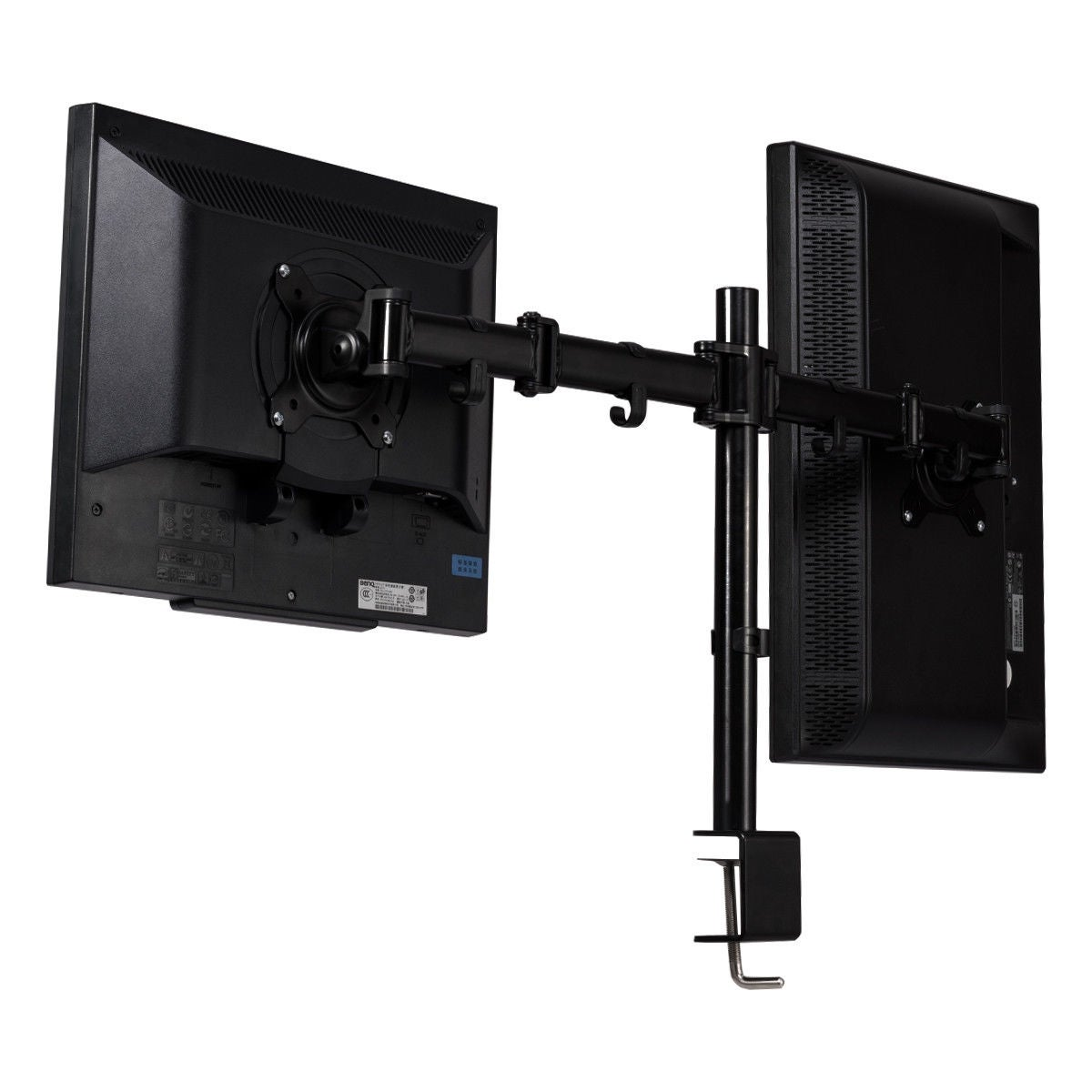 Dual 2 LCD LED Monitor Table Desk Mount Stand Adjustable Arm 2 Screen up to 27/""