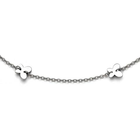 Chisel Stainless Steel Polished Butterfly Charms Anklet (1 mm) - 9 in