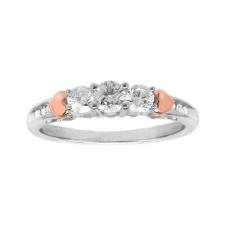1/2 ct Diamond Ring in Sterling Silver and 14K Rose Gold