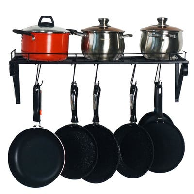 Kitchen Wall Pot Pan Rack with 10 Hooks(Black)
