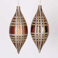 4ct Copper w/ Champagne Gold & Silver Glitter Plaid Shatterproof Christmas Finial Drop Ornaments 7""