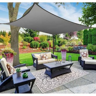 Boen Rectangle Sun Shade Sail Canopy Awning UV Block for Outdoor Patio Garden and Backyard - Grey - 12'x16'