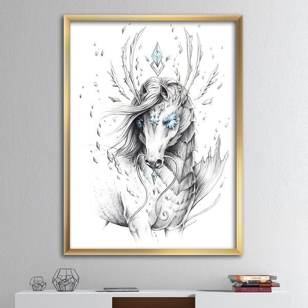Designart 'Sea Horse Crystal Blue' Modern & Contemporary Premium Framed Art Print. Opens flyout.