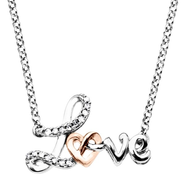 'Love' Knot Necklace with Diamonds in Sterling Silver & 10K Rose Gold