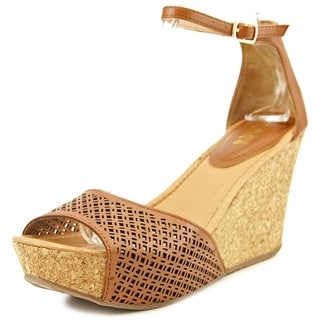 Kenneth Cole Reaction Sole Ness Women Open Toe Leather Brown Wedge Sandal