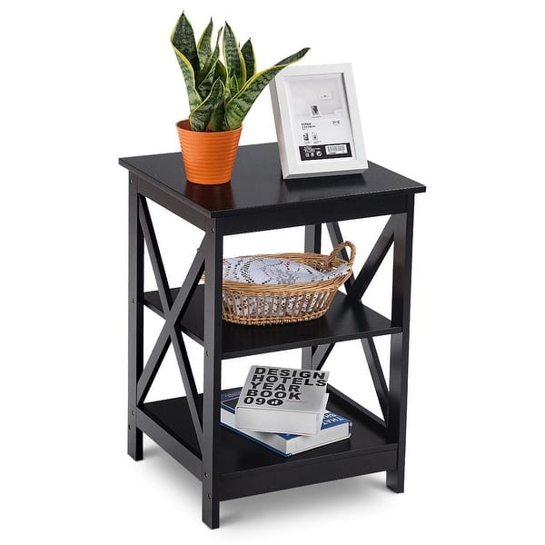 Shop Costway 3-Tier Nightstand End Table Storage Display ...