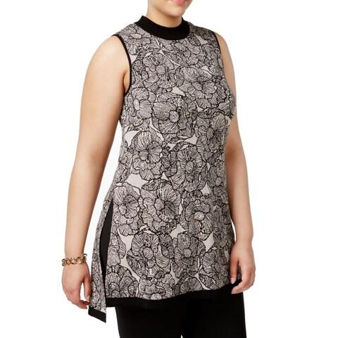 Anne Klein Black Beige Womens Size 3X Plus Mock Turtlene Blouse