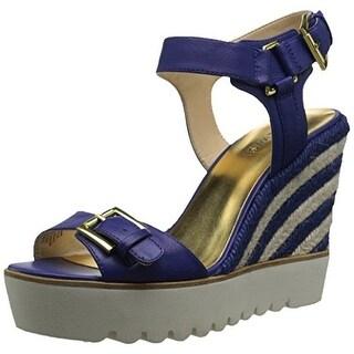 Nine West Women's Aprilshower Leather Wedge Sandal