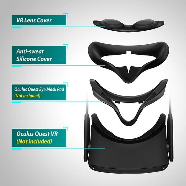 Black Insten VR Silicone Cover /&/Eye Pad for Oculus Quest Washable Eye/Cushion Cover Sweatproof /& Lightproof