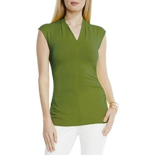 Vince Camuto Womens Casual Top V Neck Pleated