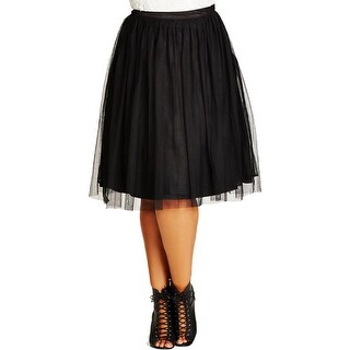 City Chic Womens Plus A-Line Skirt Mesh Pleated