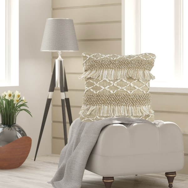 Neutral Fringe Geometric Throw Pillow. Opens flyout.