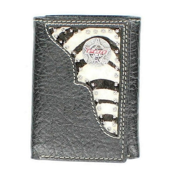 PBR Western Wallet Mens Rawhide Leather Trifold Zebra Black - One size