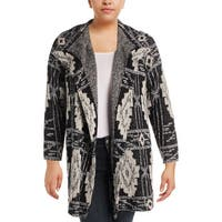 Lucky Brand Womens Plus Cardigan Sweater Printed Open Front