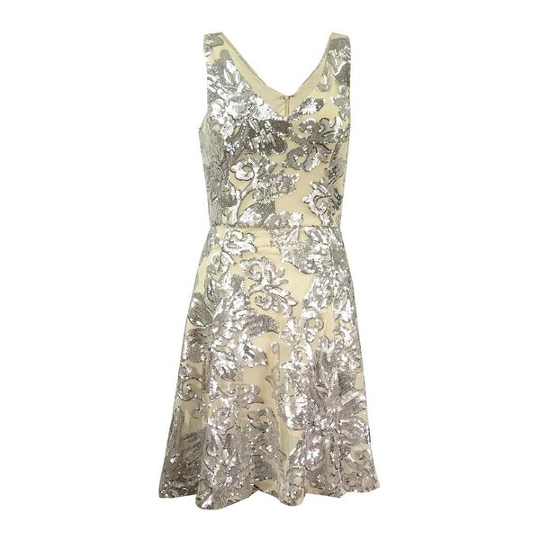 c8e88aaa89 Shop Betsy   Adam Women s Sequined Mesh A-Line Dress - Beige Silver - On  Sale - Free Shipping Today - Overstock - 18303099
