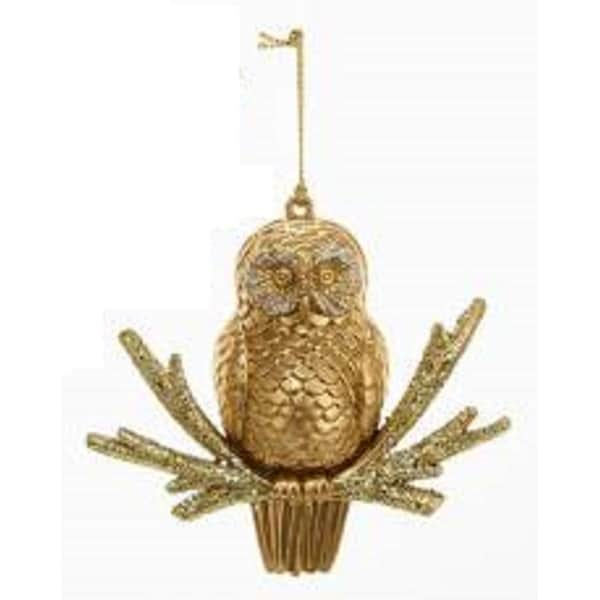 "4"" Holographic Glittered Gold Owl Decorative Christmas Ornament"