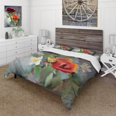 Designart 'Blossoming VIbrant Wildflowers' Traditional Duvet Cover Comforter Set