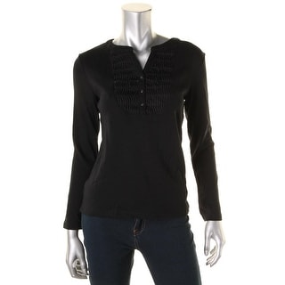 Karen Scott Womens Petites Casual Top Pintuck Split Neck - ps