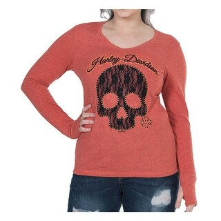 Harley-Davidson Women's Laced Skull Long Sleeve Tee w/ Thumbholes - Cayenne
