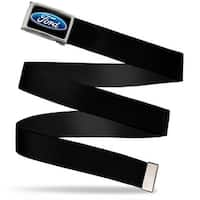 Ford Oval Logo Fcg Black Blue  Chrome Black Webbing Web Belt
