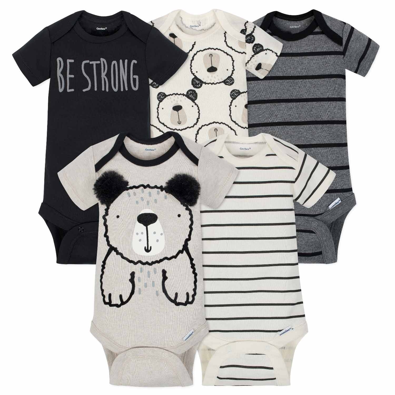 Gerber Baby-Boys Baby Boys 5-Pack Short-Sleeve Onesies Bodysuits