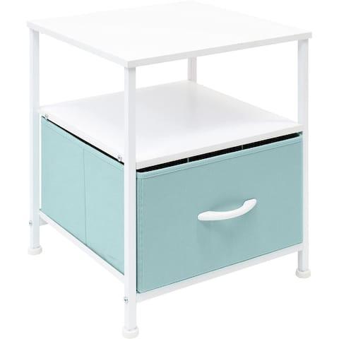 Nightstand 1-Drawer Shelf Storage - Bedside Furniture End Table Chest