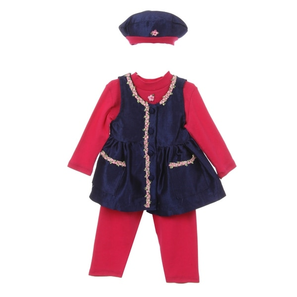 Baby Girl Fuchsia Dark Blue Bonnet Flower Pocket Long Sleeve Pants Outfit 18M