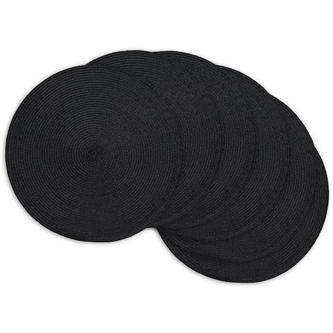 """DII Black Placemat Set, 15"""" Dia, 6 Piece"""