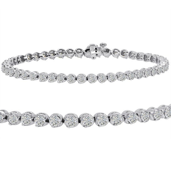 Amanda Rose AGS Certified 5ct tw Diamond Tennis Bracelet in 14K White Gold 7 1/2 inch