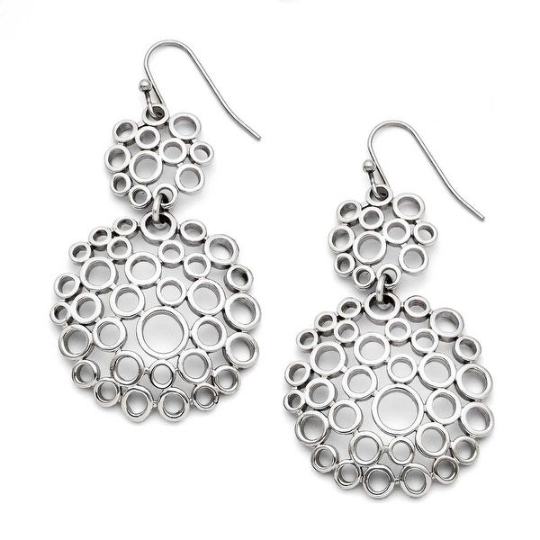 Chisel Stainless Steel Multi-Circle Shepherd Hook Polished Dangle Earrings