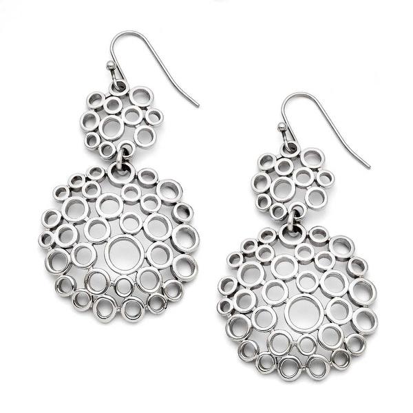 Chisel Stainless Steel Multi-Circle Shepherd Hook Polished Dangle Earrings