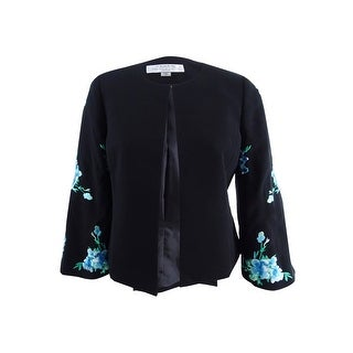 Link to Tahari ASL Women's Embroidered Bell-Sleeve Blazer - Black/Blue Similar Items in Suits & Suit Separates