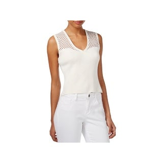 Rachel Roy Womens Crop Top Mixed Media V-Neck