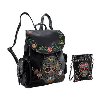 Embroidered Sugar Skull Purse and Concealed Carry Backpack Set - Black