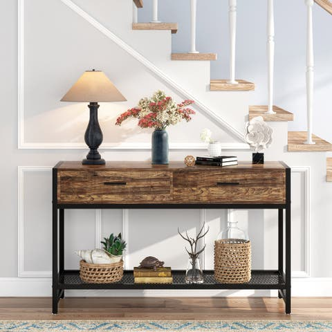 Tribesigns Console Table with 2 Drawers and Storage Shelves, TV stand