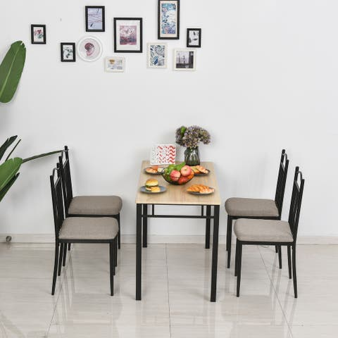 HOMCOM 5 Pieces Dining Set 1 Table 4 Chairs Metal Legs Cushion Seat Wood Color for Home Kitchen