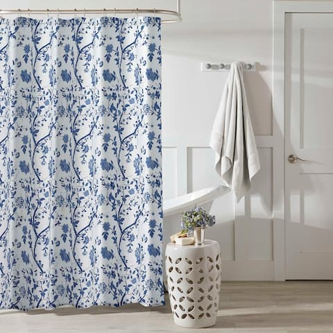 Laura Ashley Charlotte Blue Floral Shower Curtain (72 x 72)